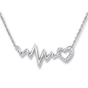 Heartbeat Necklace Diamonds Sterling Silver